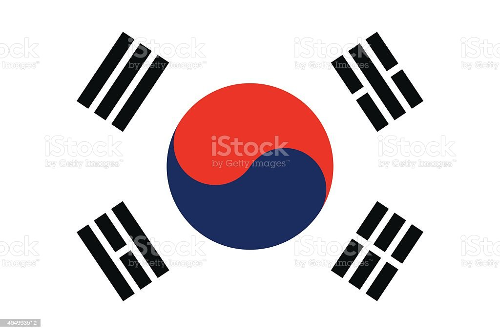 Flag of South Korea vector art illustration