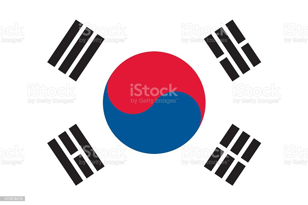 Flag of South Korea vector art illustration