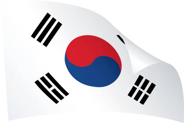 ilustrações, clipart, desenhos animados e ícones de bandeira da coreia do sul - bandeira da coreia