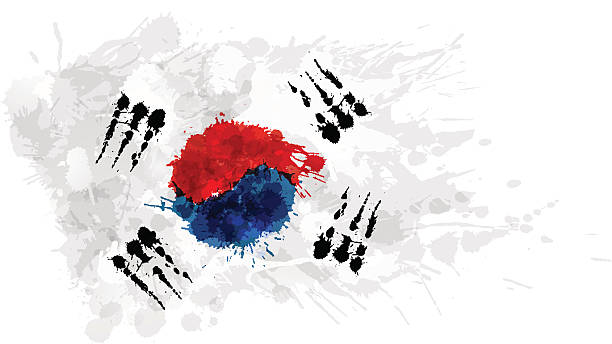 illustrations, cliparts, dessins animés et icônes de flag of south korea ( republic of korea ) - drapeau coréen