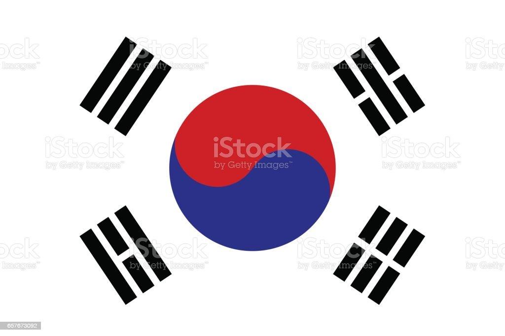 韓国の国旗  ベクターアートイラスト
