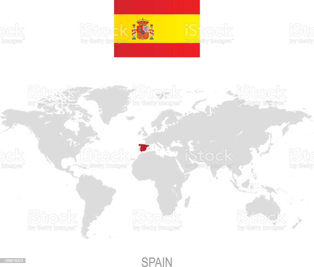 World Map Of Spain.Flag Of Spain And Designation On World Map Stock Illustration Download Image Now