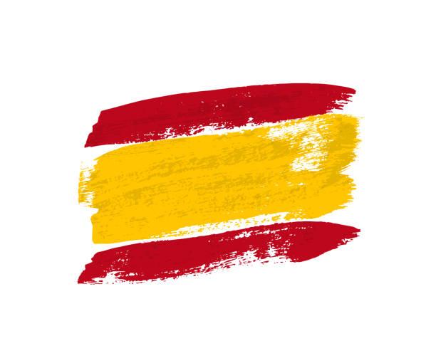 flagge von spanien gemacht von pinselstrichen. vektor-design-element. - spanien stock-grafiken, -clipart, -cartoons und -symbole