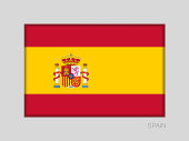 Flag of Spain. National Ensign Aspect Ratio 2 to 3 on Gray Cardboard