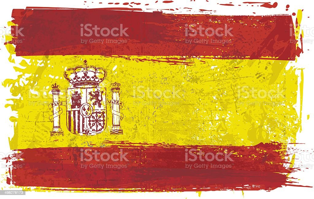 Flag of Spain on Wall vector art illustration