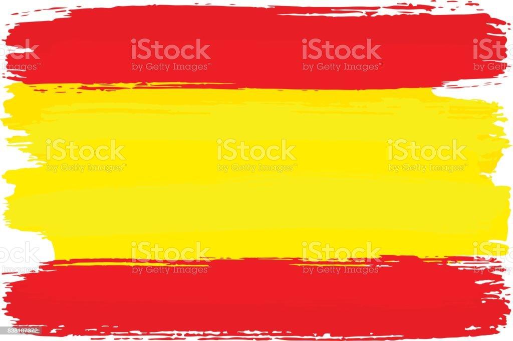 Fırça Darbeleri Ile Boyalı Ispanya Bayrağı Stok Vektör Sanatı
