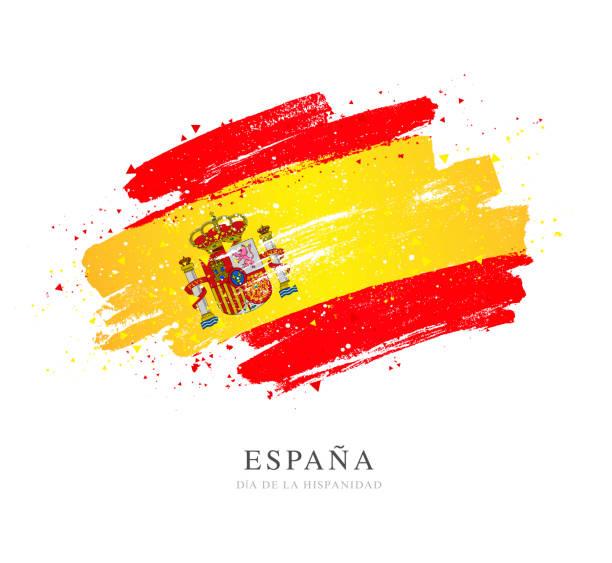 Flagge von Spanien. Vektordarstellung auf weißem Hintergrund. Pinselstriche – Vektorgrafik
