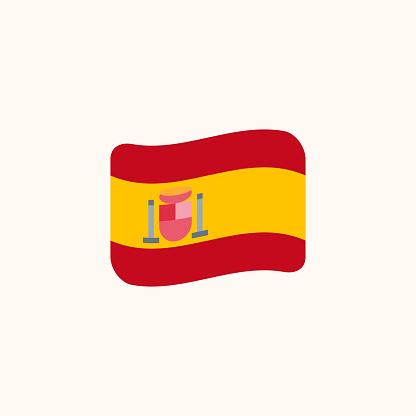 Flag of Spain vector. Isolated Spanish wavy flag flat – Vector
