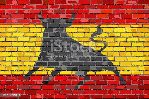 istock Flag of Spain with an Osborne bull 1271285314