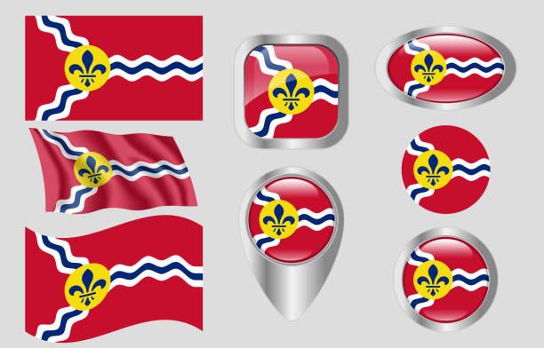 flaga st. louis, missouri - st louis stock illustrations