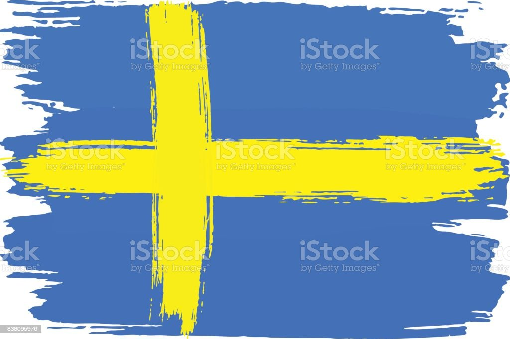 flag of Sweden painted with brush strokes vector art illustration