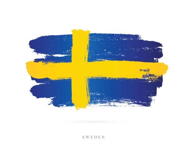 bildbanksillustrationer, clip art samt tecknat material och ikoner med sveriges flagga. vektorillustration - stockholm