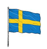 Flag of Sweden - vintage like colour illustration of Swedish flag. Contour on white background.