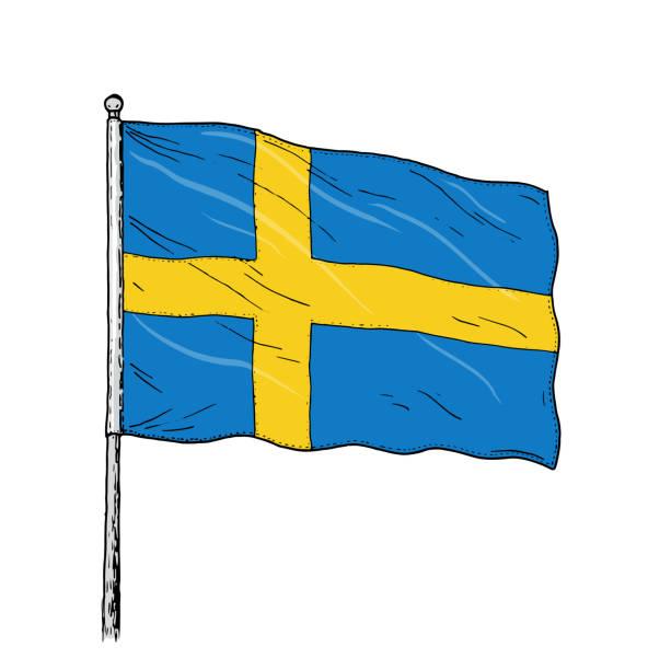 Flagge von Schweden - Jahrgang wie Farbe Abbildung der schwedischen Flagge. Kontur auf weißem Hintergrund. – Vektorgrafik