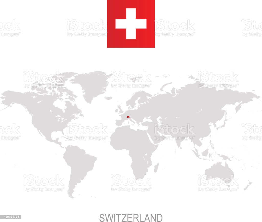 Flag Of Switzerland And Designation On World Map Stock Vector Art