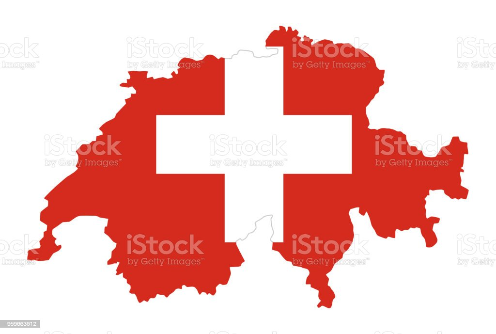 Flag of Switzerland in country silhouette vector art illustration