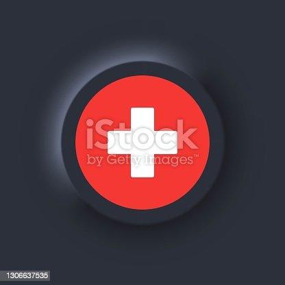 istock Flag of Switzerland. National Switzerland flag. Vector illustration. EPS10. Simple icons with flags. Neumorphic UI UX dark user interface. Neumorphism 1306637535