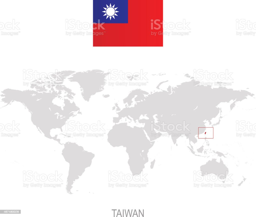 flag of taiwan and designation on world map royalty free flag of taiwan and designation