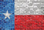 Flag of Texas on a brick wall
