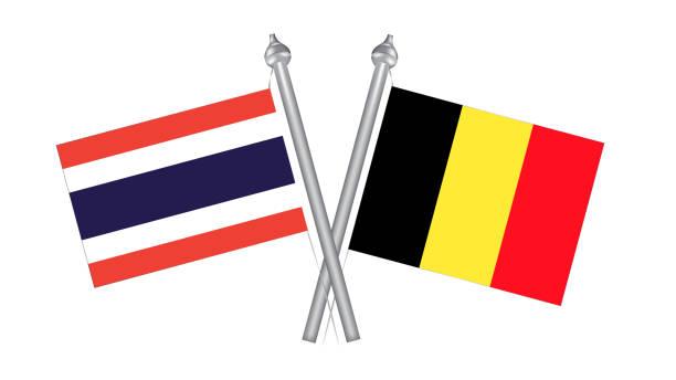 flagge von thailand und belgien. kreuzflagge für internationale beziehungen - pattaya stock-grafiken, -clipart, -cartoons und -symbole