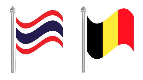 flagge von thailand und belgien. fliegende flagge - pattaya stock-grafiken, -clipart, -cartoons und -symbole