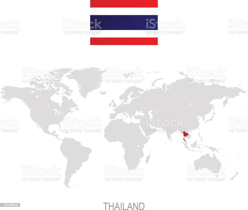 Flag Of Thailand And Designation On World Map Stock Illustration ...
