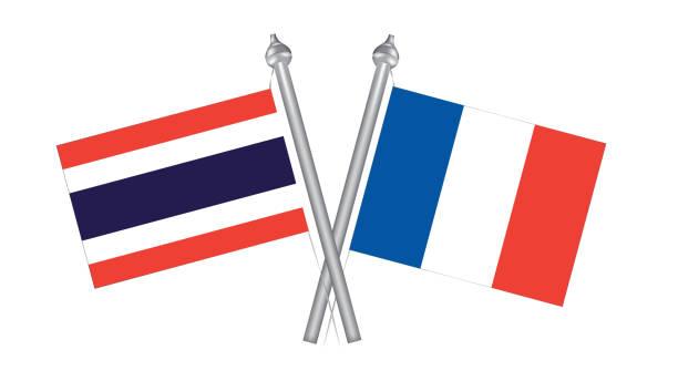 flagge von thailand und frankreich. kreuzflagge von thailand und frankreich - pattaya stock-grafiken, -clipart, -cartoons und -symbole