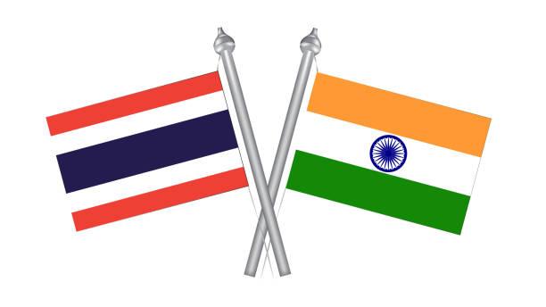 flagge von thailand und indien. kreuzflagge für internationale beziehungen - pattaya stock-grafiken, -clipart, -cartoons und -symbole
