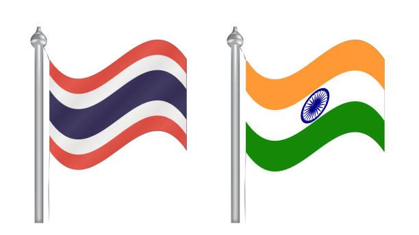 flagge von thailand und indien. flugflagge für internationale beziehungen - pattaya stock-grafiken, -clipart, -cartoons und -symbole