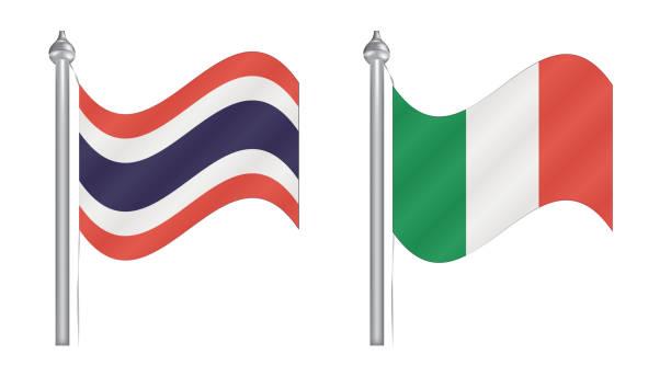 flagge von thailand und italien. abstrakte flugflagge für internationale beziehungen - pattaya stock-grafiken, -clipart, -cartoons und -symbole
