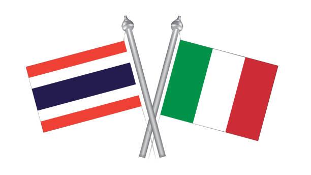 flagge von thailand und italien. kreuzflagge für internationale beziehungen - pattaya stock-grafiken, -clipart, -cartoons und -symbole