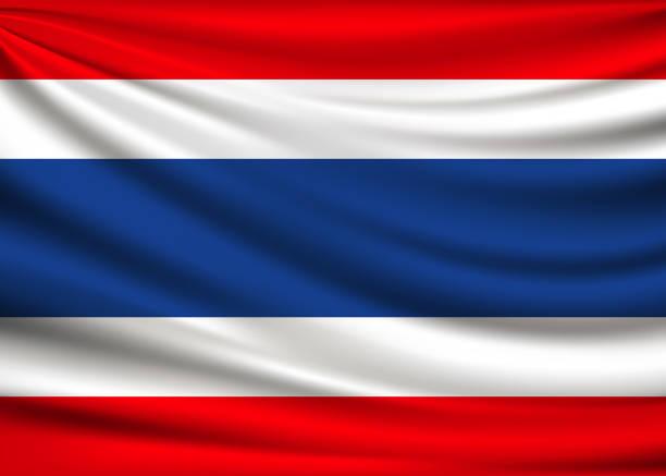 Flagge von Thailand. Stoff-Design-Hintergrund – Vektorgrafik
