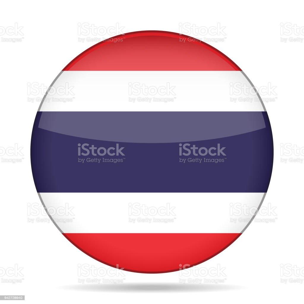 Flagge von Thailand. Glänzende runden Knopf. – Vektorgrafik