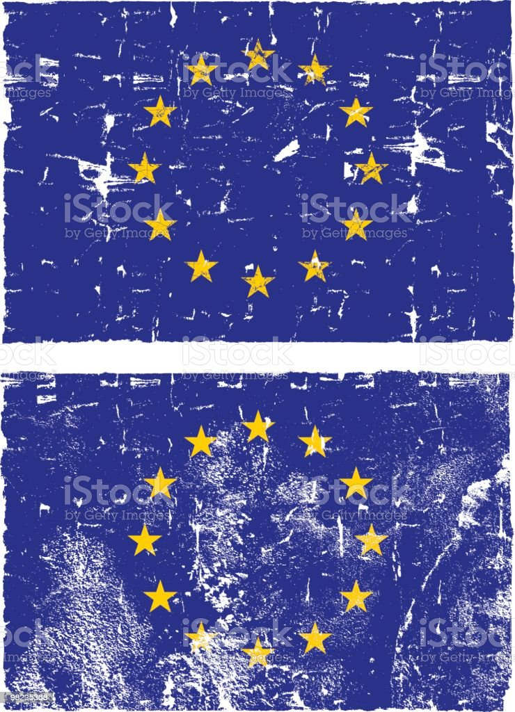 Flag of the EU, Grunge Style royalty-free stock vector art