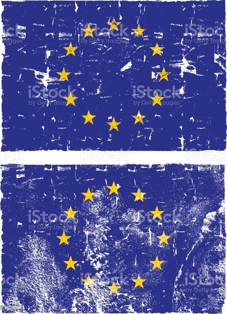 Bandiera dell'Unione europea, Grunge stile bandiera dellunione europea grunge stile - immagini vettoriali stock e altre immagini di a forma di stella royalty-free