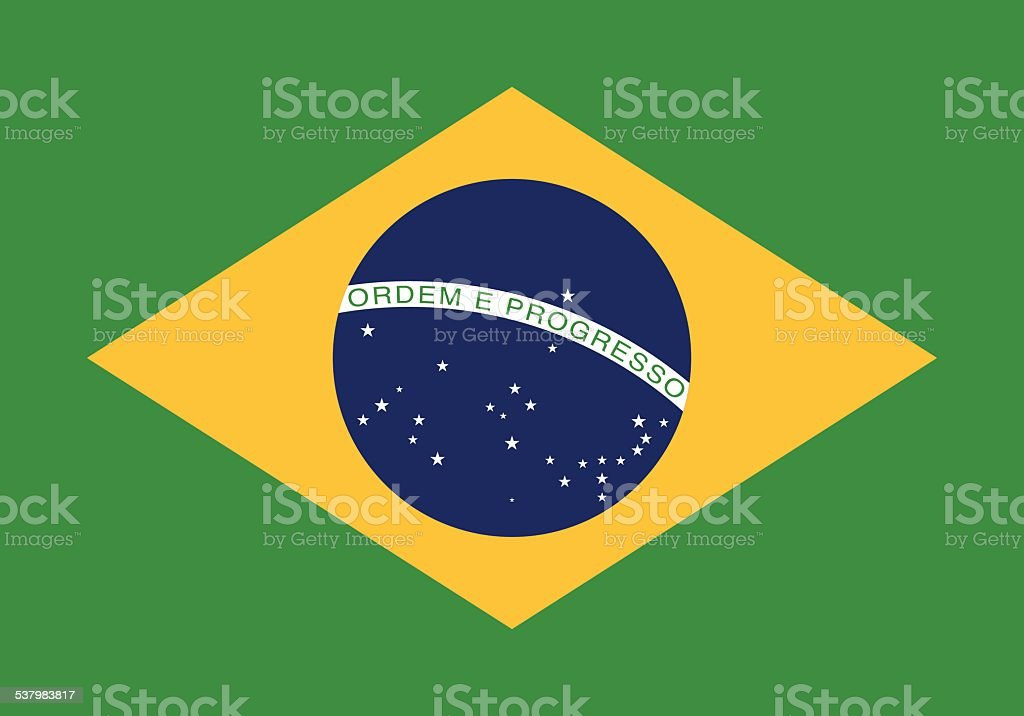 Flag of the Federative Republic of Brazil vector art illustration