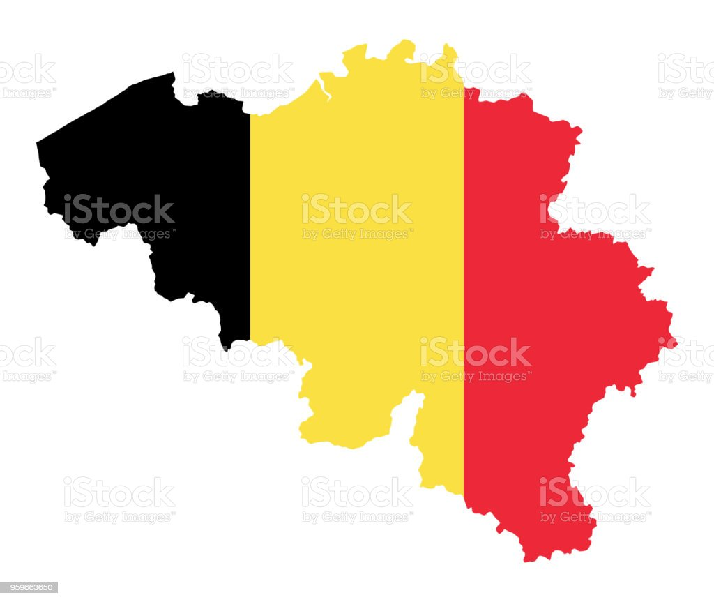 Flag of the kingdom of Belgium in country silhouette vector art illustration