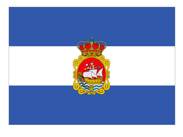 flagge der spanischen stadt aviles - alicante stock-grafiken, -clipart, -cartoons und -symbole