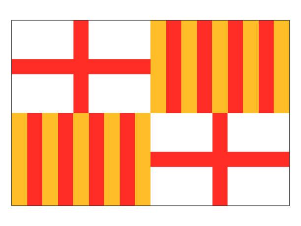 flagge der spanischen stadt barcelona - alicante stock-grafiken, -clipart, -cartoons und -symbole