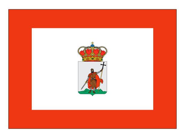 flagge der spanischen stadt gijon - alicante stock-grafiken, -clipart, -cartoons und -symbole
