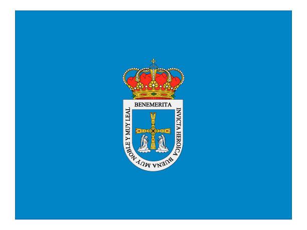 flagge der spanischen stadt oviedo - alicante stock-grafiken, -clipart, -cartoons und -symbole