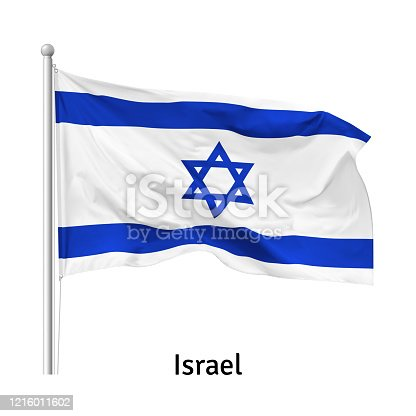 istock Flag of the State of Israel in the wind on flagpole, vector 1216011602