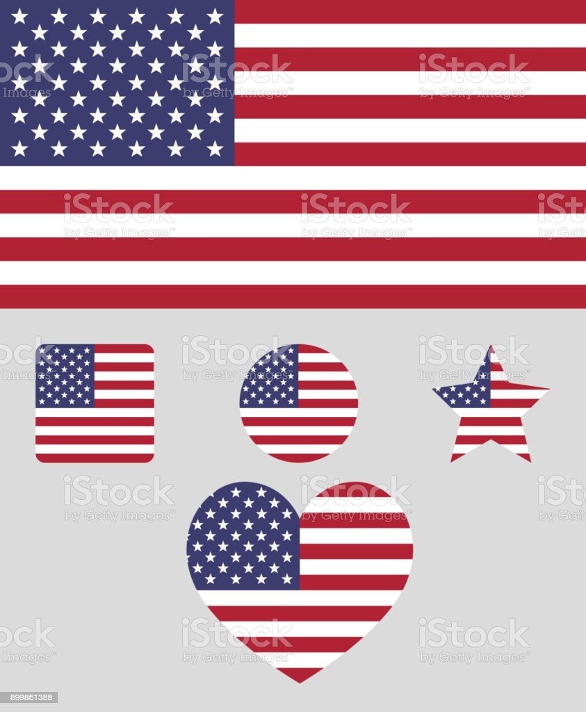 Flag of the Unated States of America vector illustration. The color and size of the original USA flag. Colored in flag colors shapes: square, circle, heart, star vector art illustration