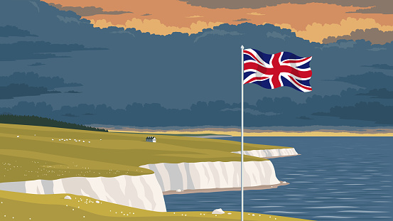Flag of the United Kingdom in front of a scenic national landscape with the white cliffs of Dover.