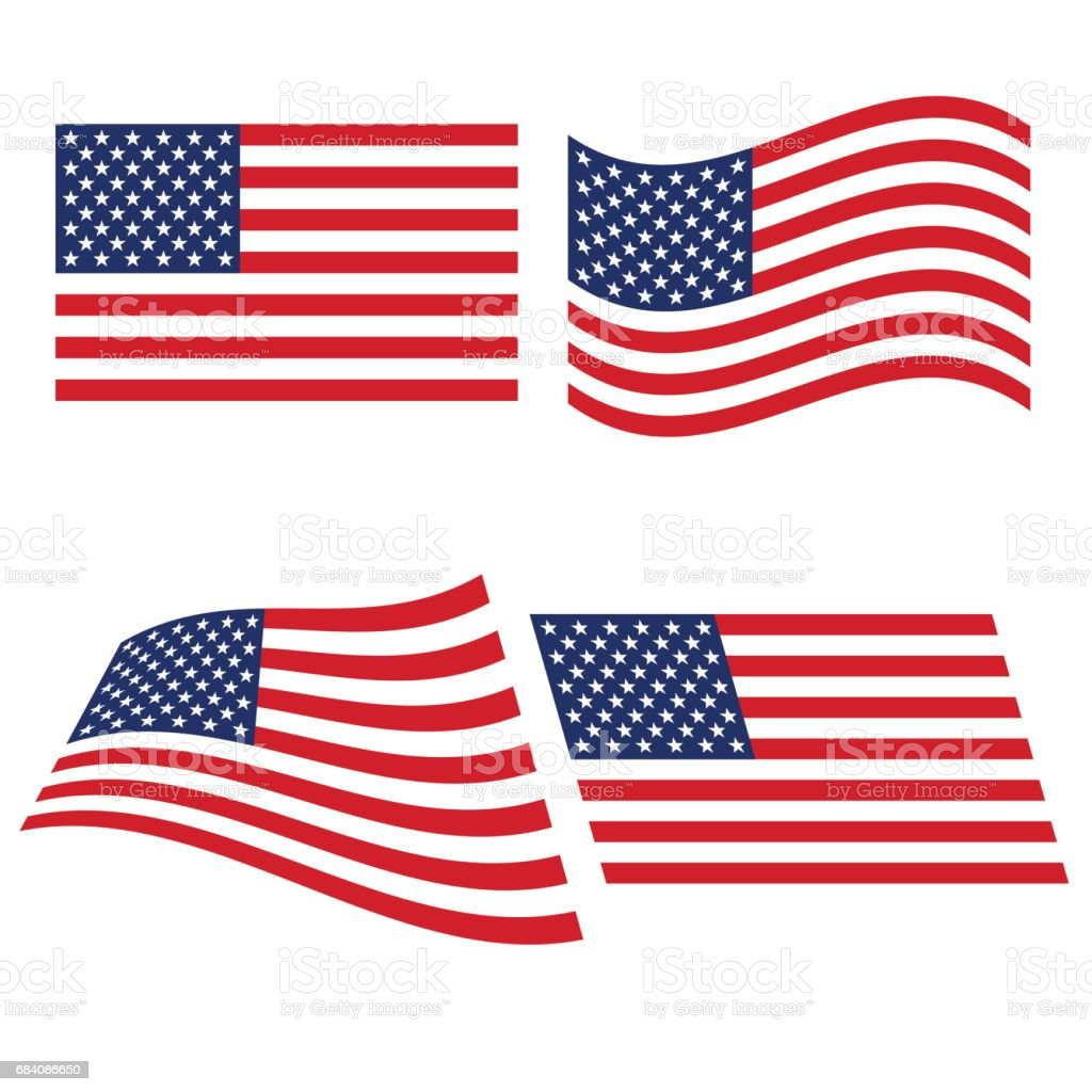 Flag of the United States in various variants of bending vector art illustration