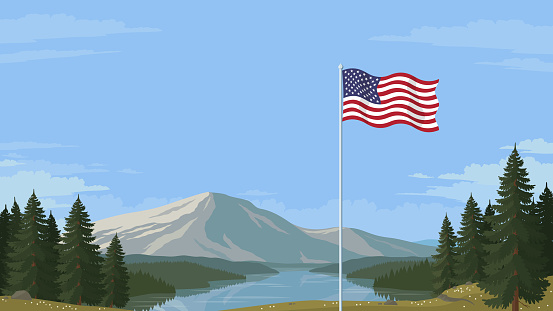 Flag of the United States of America in front of a scenic national landscape.
