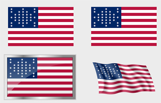 Flag of The US 33 Stars Fort Sumter