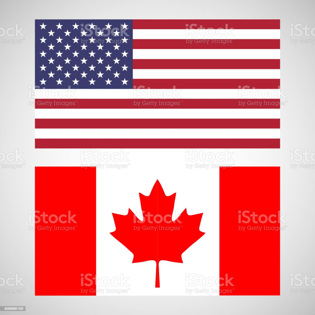 Flag of the USA and Canada vector art illustration