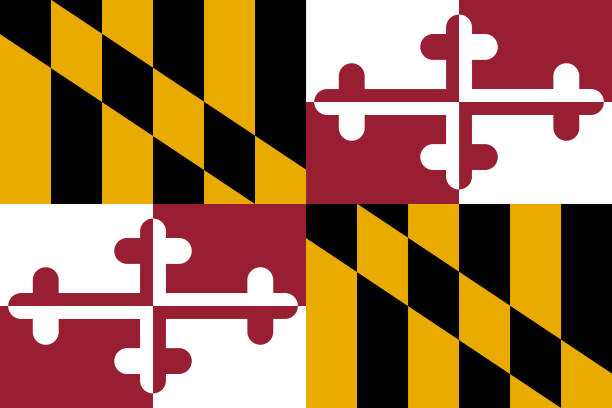 Flag of the USA State of Maryland, vector Flag of the USA State of Maryland, vector baltimore maryland stock illustrations