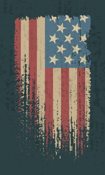 Flag of the USA Flag of the USA. Vintage American flag grunge style. Isolated vector illustration on dark background. distressed american flag stock illustrations